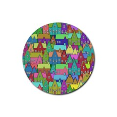 Neighborhood In Color Rubber Coaster (round)