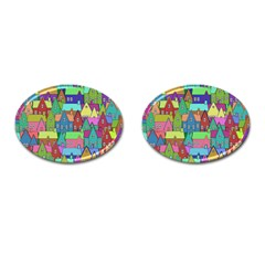 Neighborhood In Color Cufflinks (oval) by Nexatart