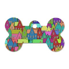 Neighborhood In Color Dog Tag Bone (two Sides) by Nexatart