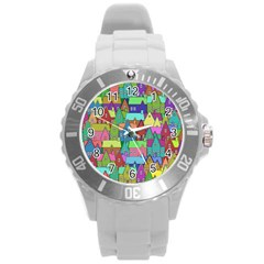 Neighborhood In Color Round Plastic Sport Watch (l)