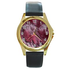 Texture Background Round Gold Metal Watch by Nexatart