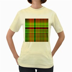 Multicoloured Background Pattern Women s Yellow T Shirt
