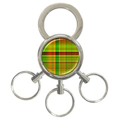 Multicoloured Background Pattern 3 Ring Key Chains