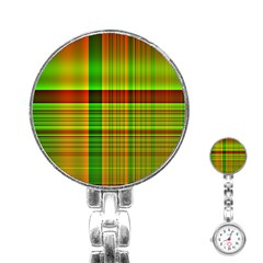 Multicoloured Background Pattern Stainless Steel Nurses Watch