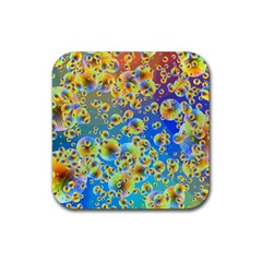 Color Particle Background Rubber Square Coaster (4 Pack)  by Nexatart
