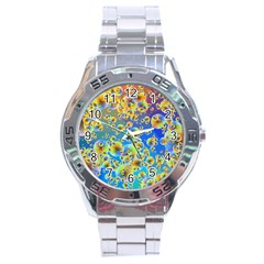 Color Particle Background Stainless Steel Analogue Watch by Nexatart