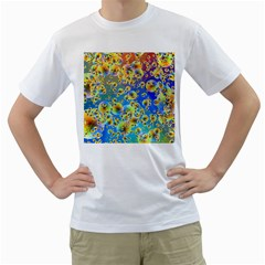Color Particle Background Men s T Shirt (white)
