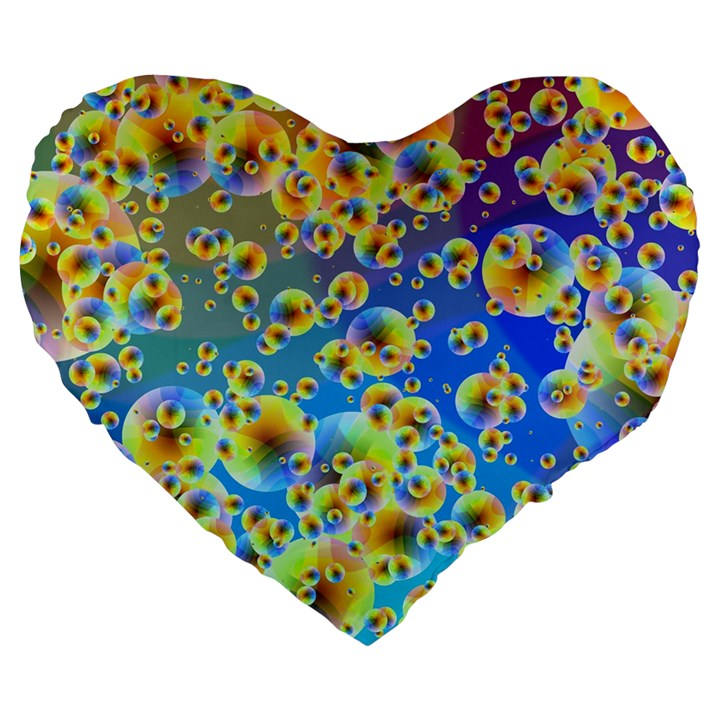 Color Particle Background Large 19  Premium Flano Heart Shape Cushions