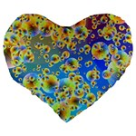 Color Particle Background Large 19  Premium Flano Heart Shape Cushions Back