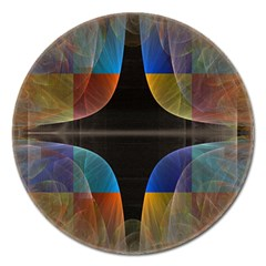 Black Cross With Color Map Fractal Image Of Black Cross With Color Map Magnet 5  (round) by Nexatart