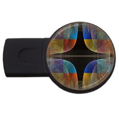 Black Cross With Color Map Fractal Image Of Black Cross With Color Map Usb Flash Drive Round (2 Gb)