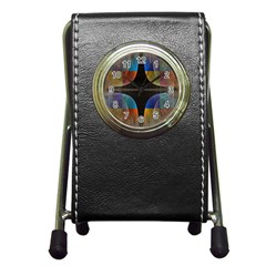 Black Cross With Color Map Fractal Image Of Black Cross With Color Map Pen Holder Desk Clocks by Nexatart