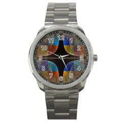 Black Cross With Color Map Fractal Image Of Black Cross With Color Map Sport Metal Watch by Nexatart
