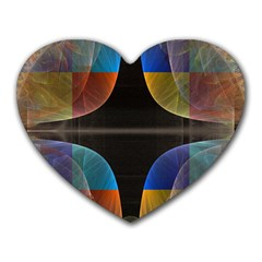 Black Cross With Color Map Fractal Image Of Black Cross With Color Map Heart Mousepads by Nexatart