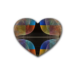 Black Cross With Color Map Fractal Image Of Black Cross With Color Map Rubber Coaster (heart)  by Nexatart