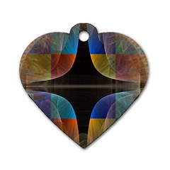 Black Cross With Color Map Fractal Image Of Black Cross With Color Map Dog Tag Heart (one Side)