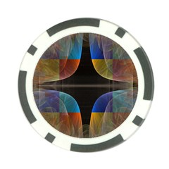 Black Cross With Color Map Fractal Image Of Black Cross With Color Map Poker Chip Card Guard