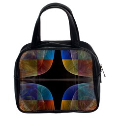 Black Cross With Color Map Fractal Image Of Black Cross With Color Map Classic Handbags (2 Sides)