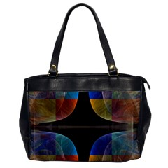 Black Cross With Color Map Fractal Image Of Black Cross With Color Map Office Handbags