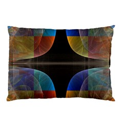 Black Cross With Color Map Fractal Image Of Black Cross With Color Map Pillow Case (two Sides)