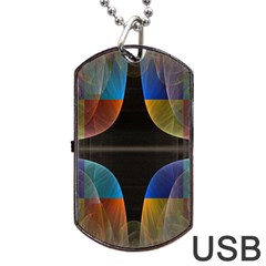 Black Cross With Color Map Fractal Image Of Black Cross With Color Map Dog Tag Usb Flash (two Sides) by Nexatart