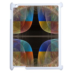 Black Cross With Color Map Fractal Image Of Black Cross With Color Map Apple Ipad 2 Case (white) by Nexatart