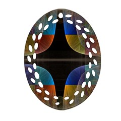 Black Cross With Color Map Fractal Image Of Black Cross With Color Map Ornament (oval Filigree)