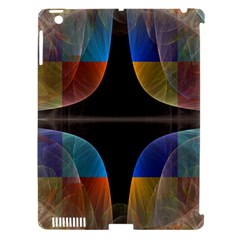Black Cross With Color Map Fractal Image Of Black Cross With Color Map Apple Ipad 3/4 Hardshell Case (compatible With Smart Cover)