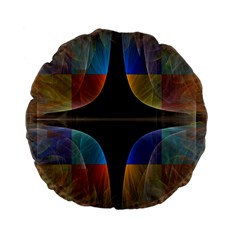 Black Cross With Color Map Fractal Image Of Black Cross With Color Map Standard 15  Premium Flano Round Cushions by Nexatart