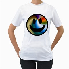 Simple Smiley In Color Women s T Shirt (white) (two Sided)