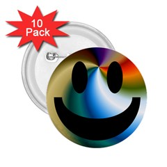 Simple Smiley In Color 2 25  Buttons (10 Pack)