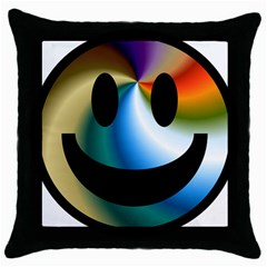 Simple Smiley In Color Throw Pillow Case (black)
