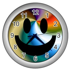 Simple Smiley In Color Wall Clocks (silver)