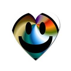 Simple Smiley In Color Heart Magnet by Nexatart
