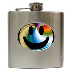 Simple Smiley In Color Hip Flask (6 Oz) by Nexatart
