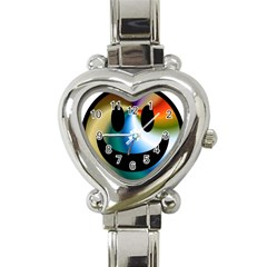 Simple Smiley In Color Heart Italian Charm Watch by Nexatart