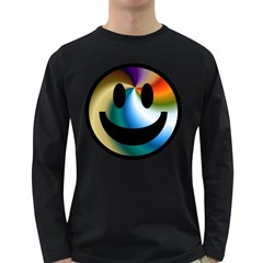 Simple Smiley In Color Long Sleeve Dark T Shirts