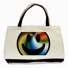 Simple Smiley In Color Basic Tote Bag