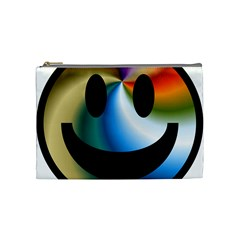Simple Smiley In Color Cosmetic Bag (medium)  by Nexatart