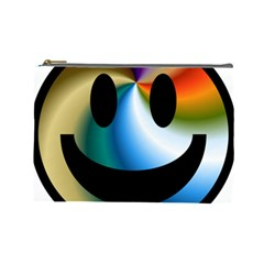 Simple Smiley In Color Cosmetic Bag (Large)