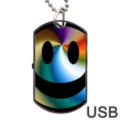 Simple Smiley In Color Dog Tag Usb Flash (one Side)