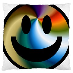 Simple Smiley In Color Large Cushion Case (two Sides) by Nexatart