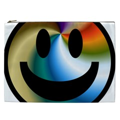 Simple Smiley In Color Cosmetic Bag (xxl)  by Nexatart