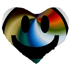 Simple Smiley In Color Large 19  Premium Heart Shape Cushions by Nexatart