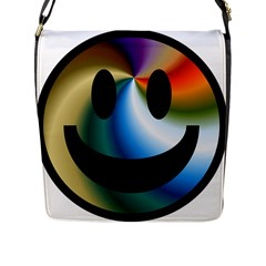 Simple Smiley In Color Flap Messenger Bag (l)