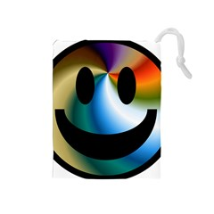 Simple Smiley In Color Drawstring Pouches (medium)  by Nexatart