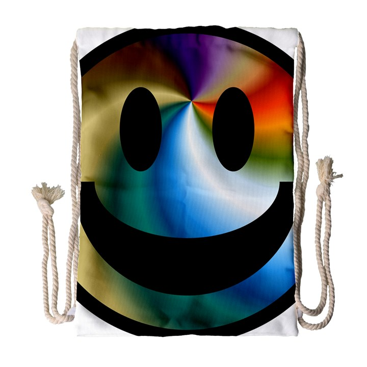 Simple Smiley In Color Drawstring Bag (Large)