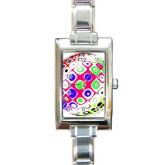 Color Ball Sphere With Color Dots Rectangle Italian Charm Watch