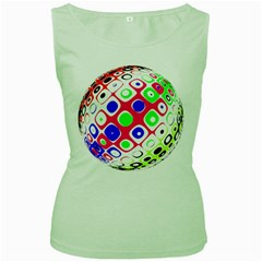 Color Ball Sphere With Color Dots Women s Green Tank Top