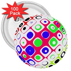 Color Ball Sphere With Color Dots 3  Buttons (100 Pack)